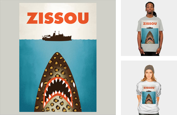 zissou wharton jaguar shark steve zissou life aquatic jaws movie poster pop culture mashup tshirt tank top sweatshirt phone case