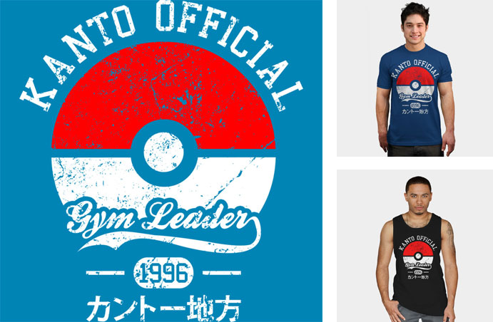 kanto official gym leader bomdesignz ash character pokemon pokeball pop culture video game gaming nintendo tshirt tee tank top sweatshirt phone case
