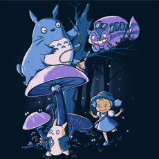 my neighbor alice pop culture mashup totoro disney alive in wonderland cheshire cat white rabbit cartoon cute funny tshirt tee tank top sweatshirt phone case
