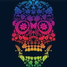 rainbow skull dia de los muertos day of the dead calavera pattern nature neon gradient art illustration tattoo street urban art tank top sweatshirt tshirt tee phone case