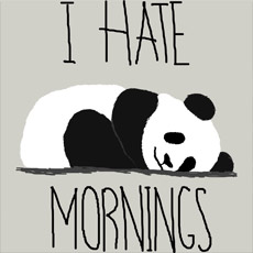 i hate mornings simple minimal animal panda cartoon typography slogan tshirt tee tank top sweatshirt