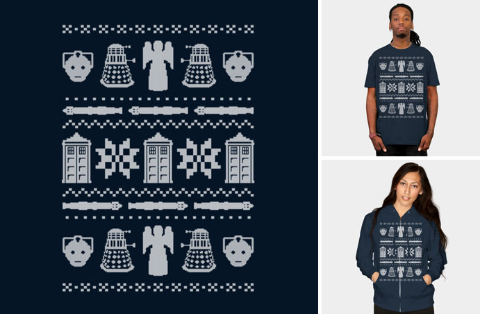 doctor who daleks angels tardis ugly sweater tshirt sweatshirt
