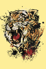 Splattered Tiger head