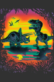 T Rex Triceratops Battle During Dawn of the Dinosaur Apocalypse