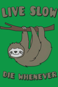 Funny & Cute Sloth 'Live Slow Die Whenever' Cool Statement / Laz