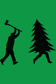 Funny Christmas tree is chased by Lumberjack / Run Forrest, Run!