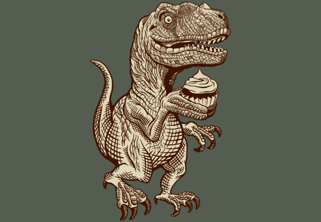 Velociraptors love cupcakes!  Artwork