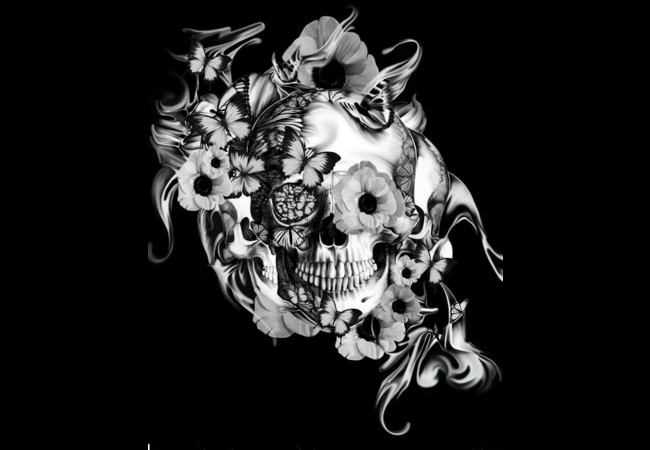 Blowing Smoke, floral skull  Artwork