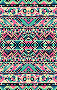 Pink Turquoise Girly Aztec Andes Tribal Patte