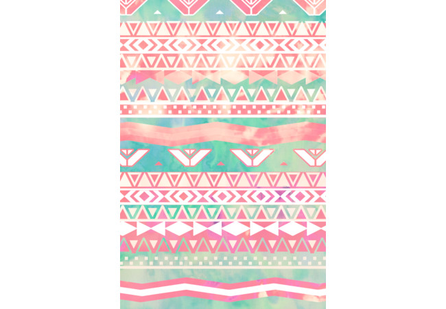 Girly Aztec Pattern Pink Turquoise Watercolor  Artwork
