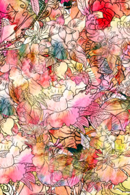 Colorful Watercolor Floral Pattern Abstract S