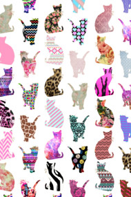 Girly Whimsical Cats aztec floral stripes pattern