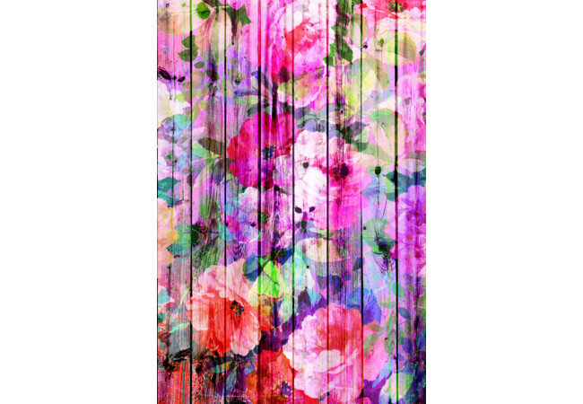 Vintage Bright Chic Floral Pattern Purple Wood  Artwork