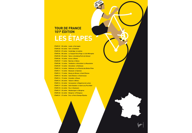 MY TOUR DE FRANCE MINIMAL POSTER 2014-ETAPES  Artwork