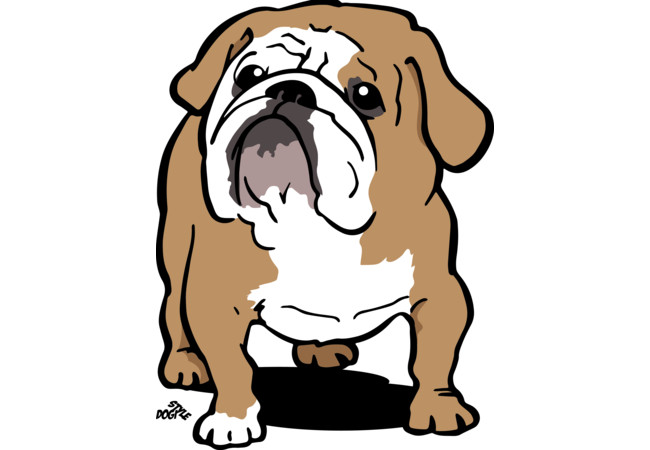 English Bulldog cartoon dog shirt  Artwork