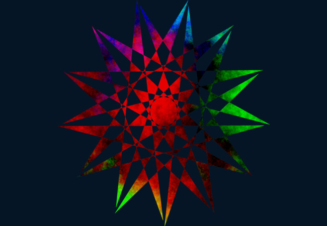 Trippy Star - Colorful Geometric Abstract Vector Star  Artwork