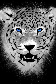 White Tiger With Blue Eyes and Paint Splatters