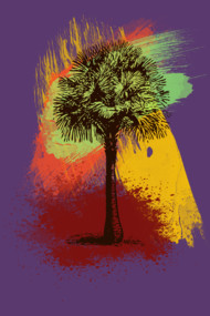 Grunge Palm Tree Paint Brush Strokes