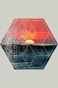 Sunset At Sea - Waves Ocean Beach - Geometric Abstract Polygonal