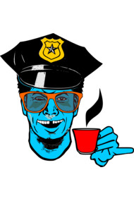 blue coffee lover cop