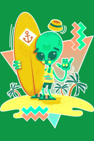 Alien Surfer Nineties Pattern