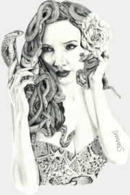 Medusa pin up babe. Drawing by Damian Smith