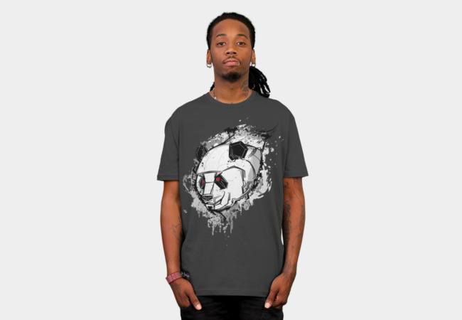 Grey Mecha Panda T-Shirt - Design By Humans