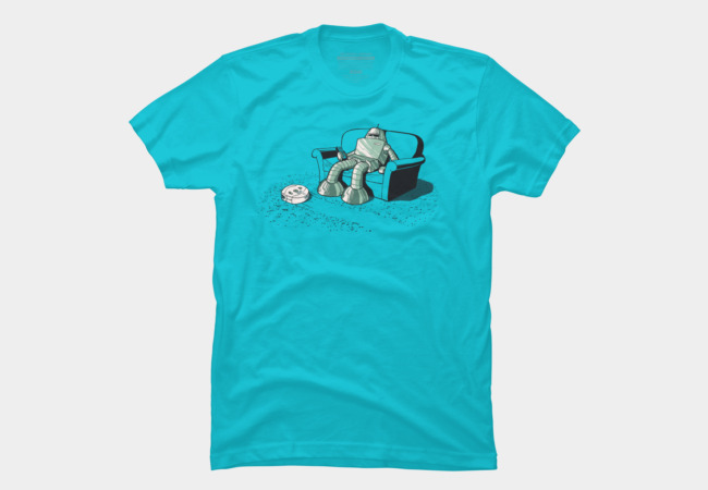 A Robot Vacuuming Men's T-Shirt