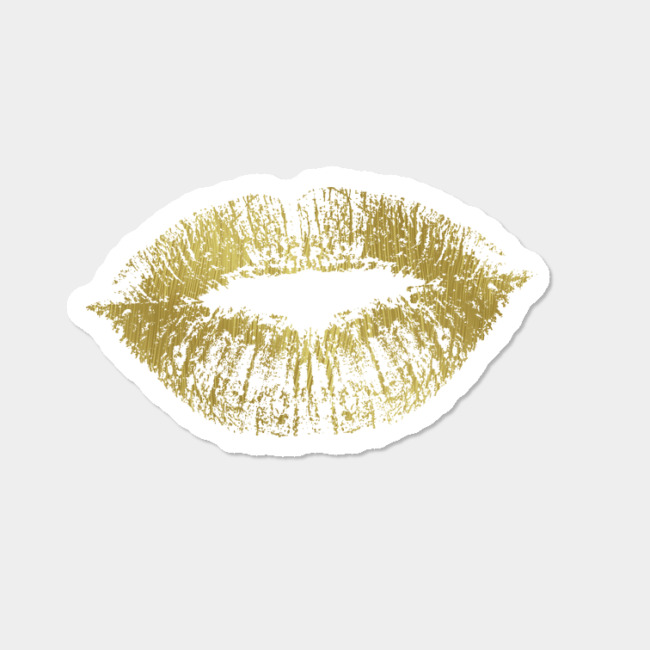 9cfb4a329277 Gold Kiss Lips Sticker By ZenandChic Design By Humans
