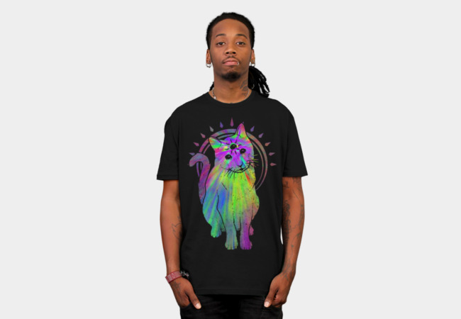 Psychic psychedelic trippy cat T-Shirt - Design By Humans