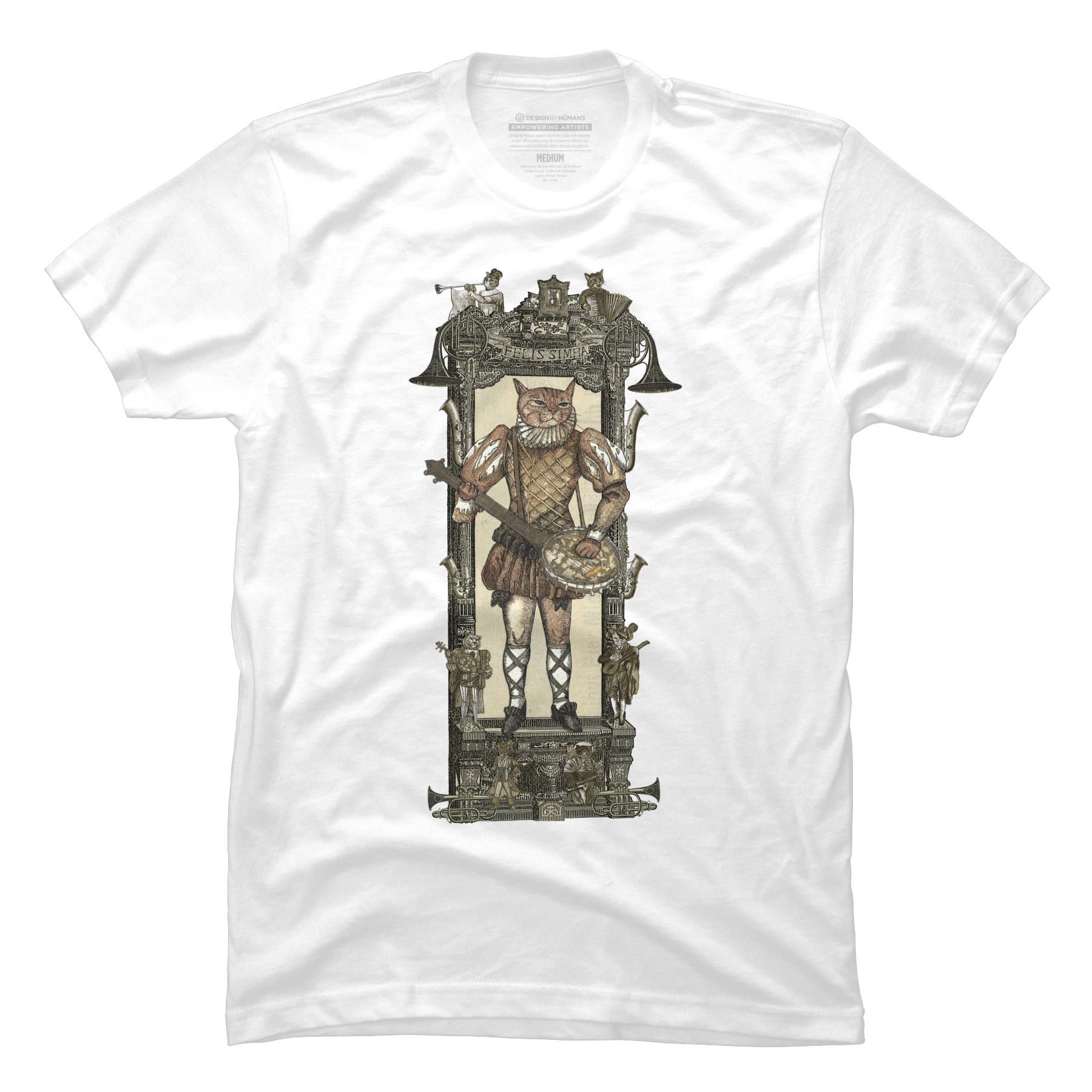 Steampunk Banjo Cat Men's T-Shirt