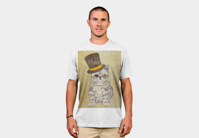 Funny Cute Kitten Cat Sketch Monocle and Top  T-Shirt - Design By Humans