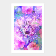 Girly Kitten Cat Romantic Floral Pink Nebula