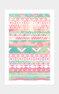 Girly Aztec Pattern Pink Turquoise Watercolor
