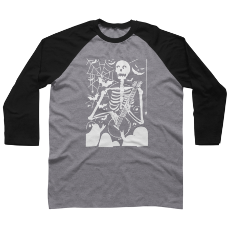 Illustrative skeleton guitar player halloween skull art