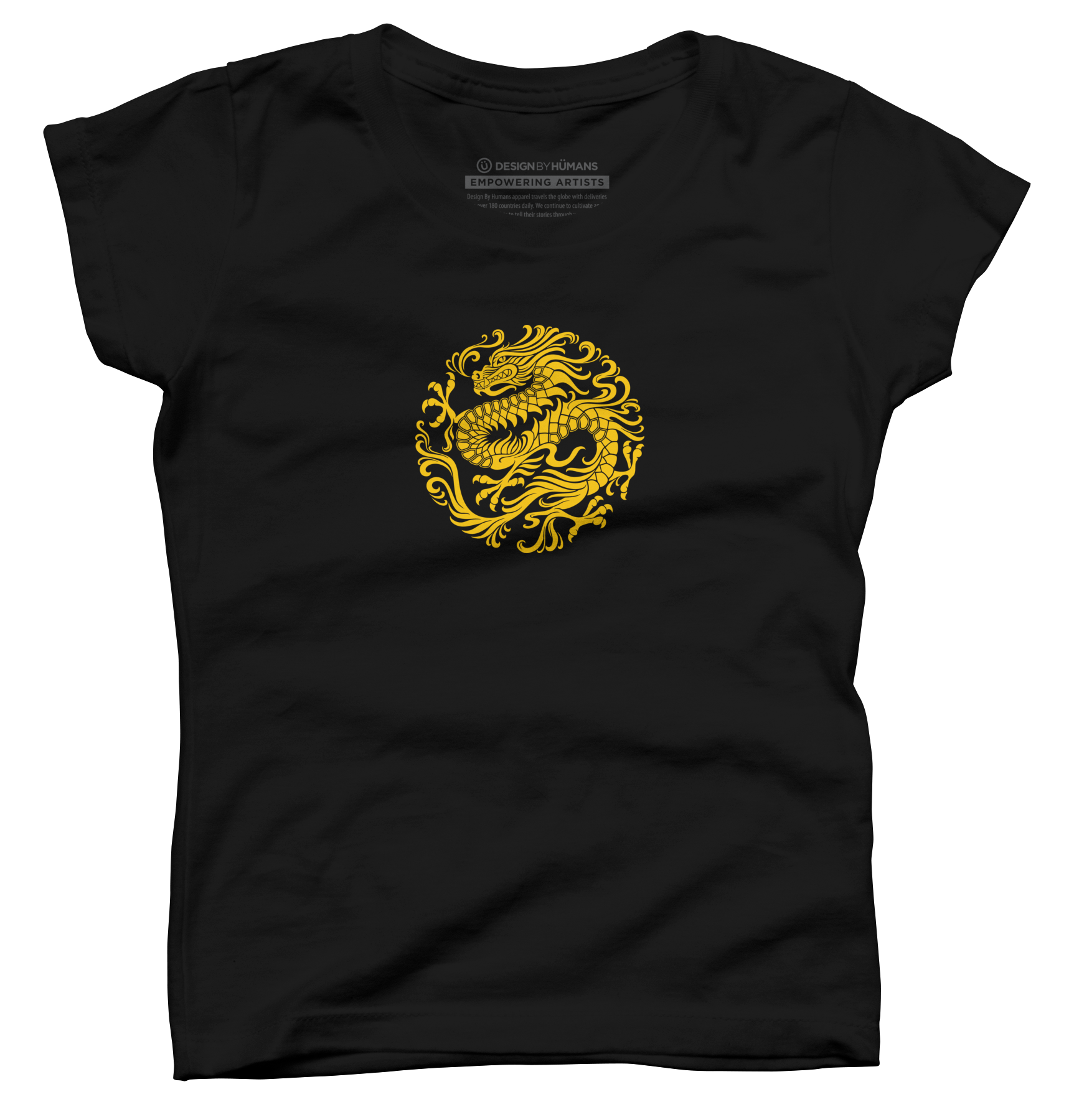 Traditional Yellow Chinese Dragon Circle Girl's T-Shirt