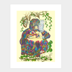 Vibrant Jungle Gorilla and his Cat
