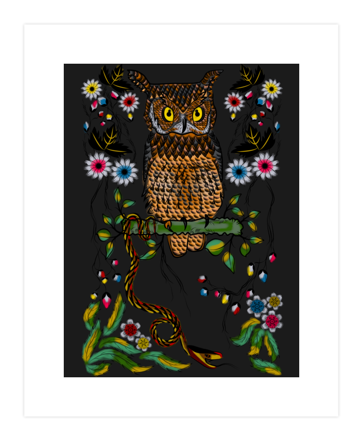 Vibrant Jungle Owl and Snake Art Print 70072