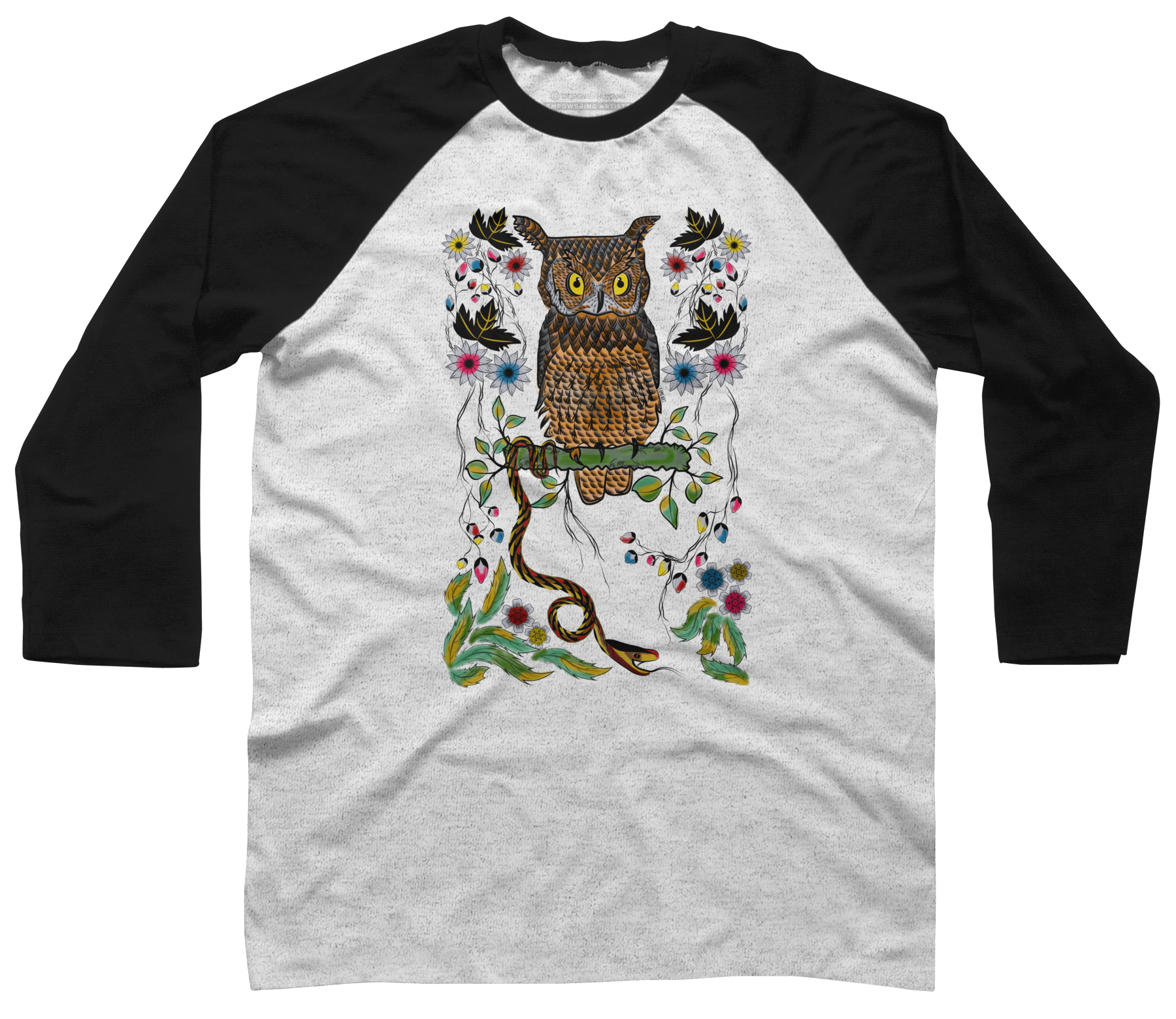 Vibrant Jungle Owl and Snake Baseball Tee 70072